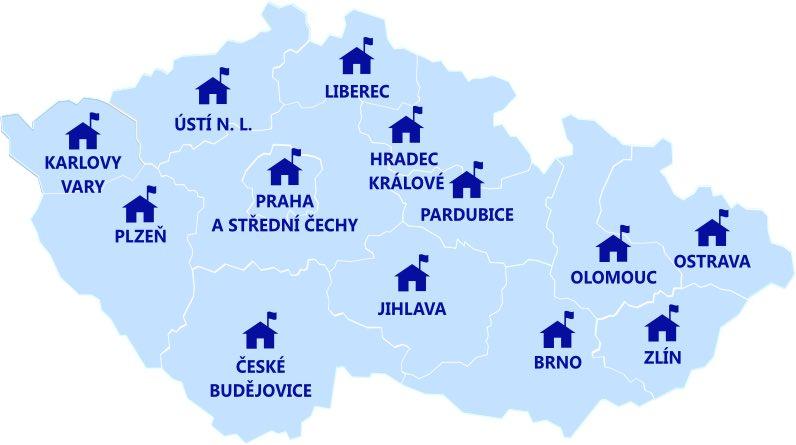 Mapa krajských středisek